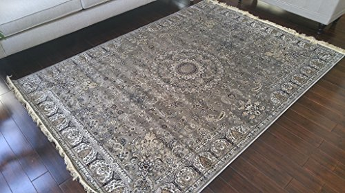 Brown Grey Ivory Black New Silk Traditional Isphan Area Rugs Ultra Low Pile 8'3x11'5 250x350cm 342grey
