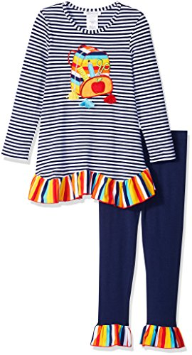 Bonnie Jean Girls' Little Holiday Dress and Legging Set, Navy Backpack, 6X from Bonnie Jean