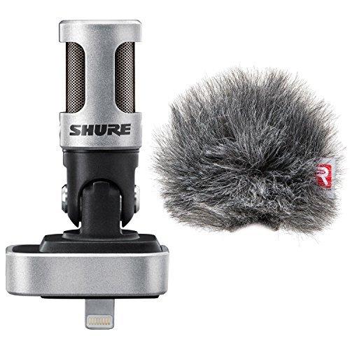 Shure MV88 iOS Digital Stereo Condenser Microphone w/ Rycote Windjammer Windscreen - Bundle Stereo Condenser Vocal Microphone