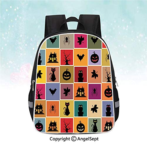 (Nylon Fabric Backpack,Bats Cats Owls Haunted Houses in Squraes Halloween Themed Darwing Art Decorative,13