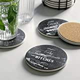 LIFVER Funny Coasters for Drinks with Holder, Set