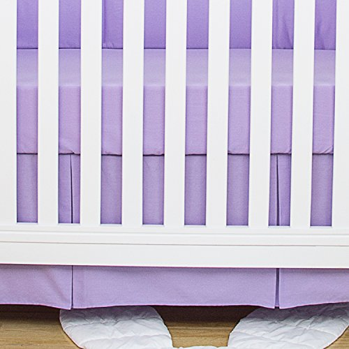 TILLYOU Lilac Pleated Crib Skirt, 100% Natural Cotton, Nursery Crib Bedding Skirt for Baby Boys and Girls, 14'' Drop Lilac ()