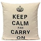 Linen Retro Crown Keep Calm Pillow Case Home Decor Cushion Cover // Ropa de la corona retro mantener funda de almohada fundas de colchón decoración para el hogar en calma