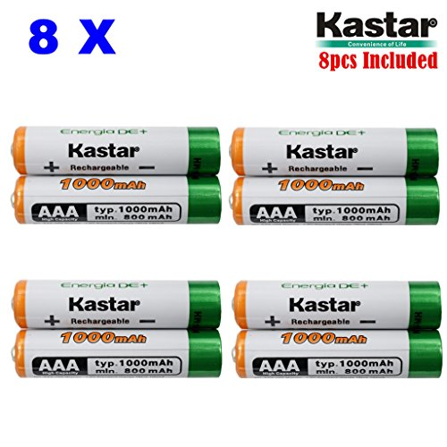 Kastar AAA 8-Pack Ni-MH 1000mAh Super High-Capacity Rechargeable Battery Pre-Charged for Panasonic HHR-4DPA HHR-55AAABU HHR-65AAABU, Solar Spinner, Solar Power Unite, Garden Solar Light, Mice ()