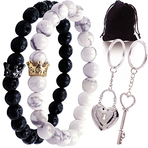 Long Distance Matching Bracelets for Couples Keychain for His Hers King Queen bf by OMG Supply