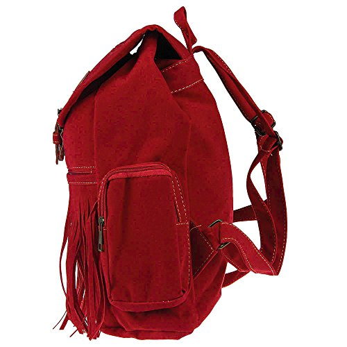 RED Handbag Fringe Rucksack Tassel Shoulder Womens Casual Vintage Travel Mini Mioim PU Backpack Bag Retro FtT6nq