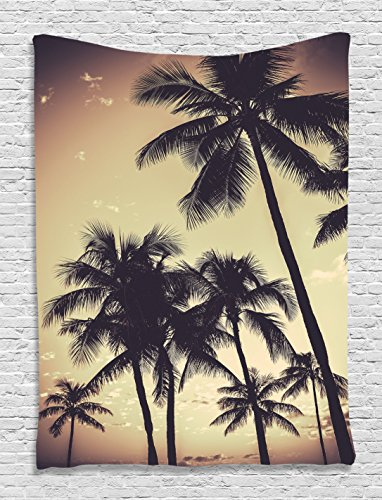 (Ambesonne Tropical Decor Collection, Ocean Beach Sunset Sepia Tones Print, Bedroom Living Kids Girls Boys Room Dorm Accessories Wall Hanging Tapestry)