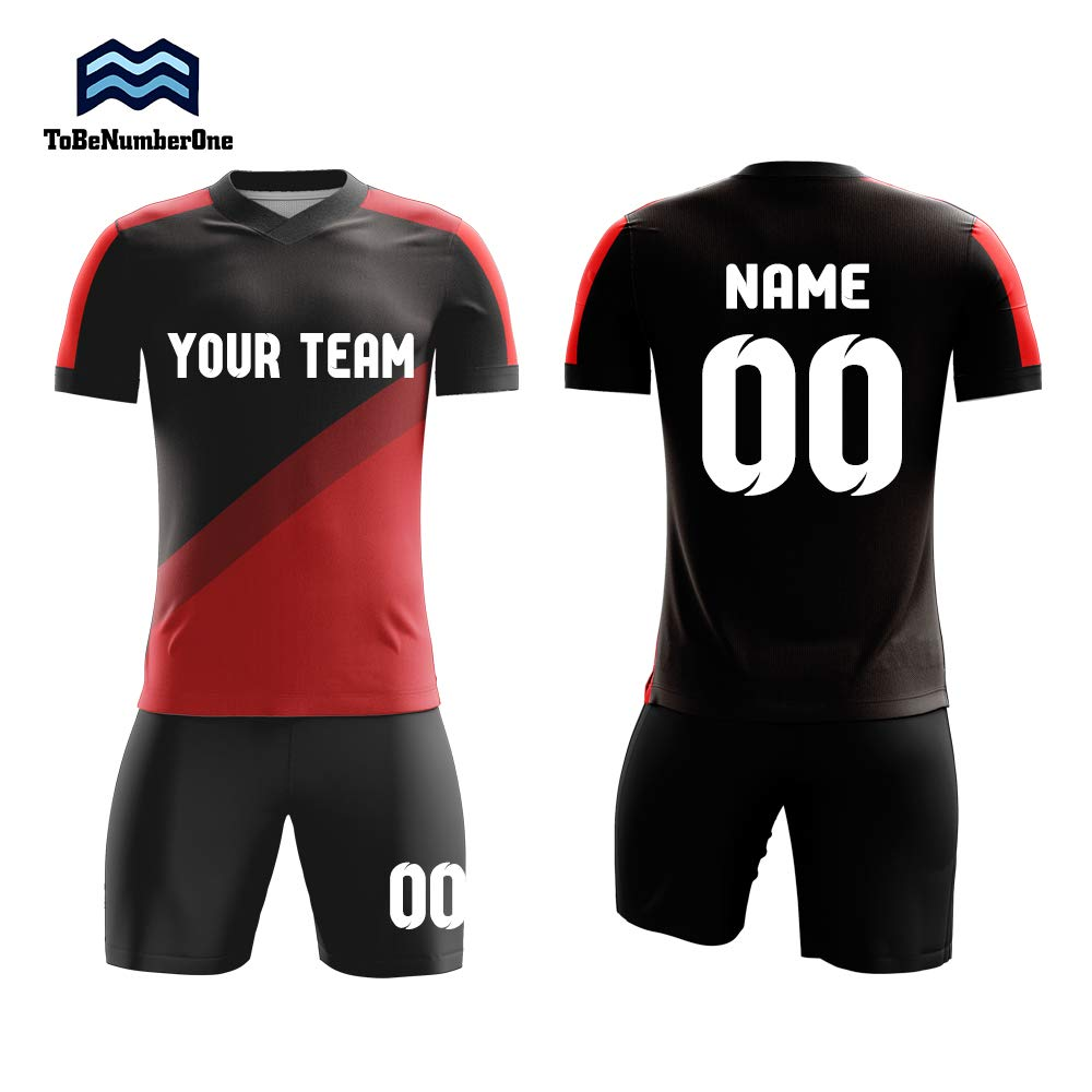 9b15cb2bab4 Amazon.com  Customized Full-Sublimation Soccer Uniforms Custom Black red  Jerseys with Your Team Name and Number  Clothing