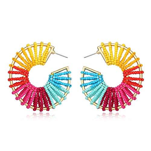 Colorful Statement Round Bead Earrings Geometric Earrings Drop Dangle Hoop Earrings Boho Hollow Earrings Bohemia Summer Wear Gifts for Women