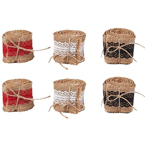 Burlap Ribbon Rolls - 6-Roll Natural Jute Fabric Craft Ribbons with Red, Black, White Lace Trims, 2.18 Yards Long, 2 Inches Wide
