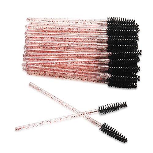 300 Pack Mascara Wands for Lash Extensions Disposable Eyelash Brushes Makeup Applicators Tool, Crystal Pink Handle Black Brush Head