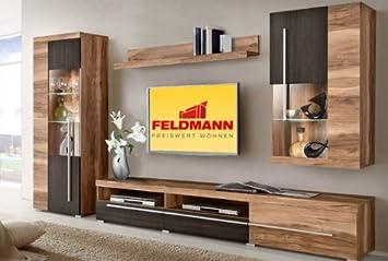 Wohnwand Anbauwand 379591 4 Teilig Satin Nussbaum / Touchwood Wenge