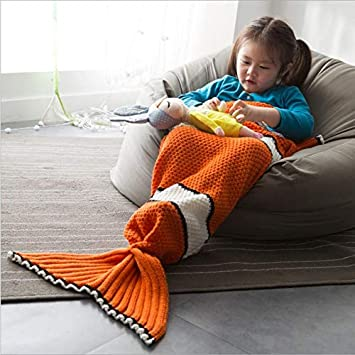 XILIUHU Cartoon Animal Saco de Dormir para Sofa Cama Crochet Caliente arrojar salga Cola de pez Infantil Tejidos artesanales Plaid Manta Mermaid Kid: ...