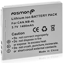 Fosmon® 3.7V 1400 mAh Replacement Li-ion Canon NB-4L Battery Pack for PowerShot SD30/ SD40/ SD400/ SD430 WIRELESS/ SD450/ SD600/ SD630/ Powershot SD Series/ Powershot SD200/ SD300 - Fosmon Retail Packaging