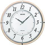SEIKO CLOCK ( Seiko clock ) radio wall clock twin -Pas -thin solar plus wooden frame Brown SF501B
