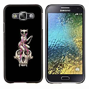 Qstar Arte & diseño plástico duro Fundas Cover Cubre Hard Case Cover para Samsung Galaxy E5 E500 (Cráneo del gato - Lágrimas de piedra - Pop Art)