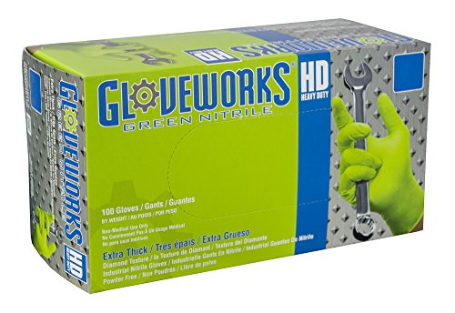 AMMEX - GWGN44100 - Nitrile Gloves - Gloveworks - HD, Disposable, Powder Free, 8 mil, Medium, Green (Case of 1000) by Ammex