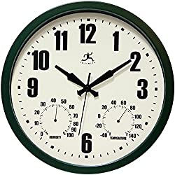 Infinity Instruments Patio Green Outdoor Clock, 14