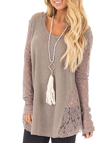 FISACE Women Sexy Long Casual Sleeve Knitted Crochet Sweater Pullover