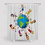 Asoco Shower Curtain,Boys Playing Soccer A The World Illustration Pattern Bathroom Waterproof Fabric 72 Inches Long Home Decorative Bath Decorative Resistant Mildew Design Polyester Fashion Colorful