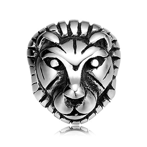 REAMOR 5pcs 316L Stainless Steel Animal Lioness Head Beads Charms Spacer Beads for Bracelet Jewelry (Lioness Head)