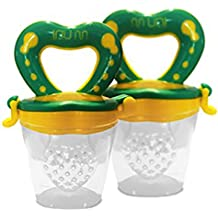 Best Baby Food Feeder Pacifier (2 Pack) - Fresh Fruit Feeder, Infant Silicone Teether Toy with Storage and Silicone Nipple Replacement - Soothe Teething & Introduce Solid Food - Choke Free