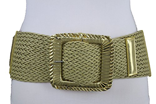 Braided Square Buckle Belt - TFJ Women Fashion Elastic Braided Belt Waist Hip Square Buckle Plus M L XL Gold