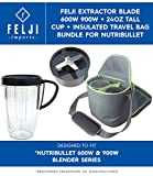 Felji Extractor Blade 600W 900W + 24oz Tall Cup + Insulated Travel Bag Bundle for NutriBullet