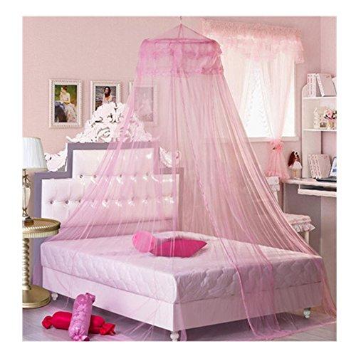 Romantische Spitze Bett-Überdachung Frauen Mädchen Prinzessin Moskitonetze Indoor Netz Vorhang (Rosa)
