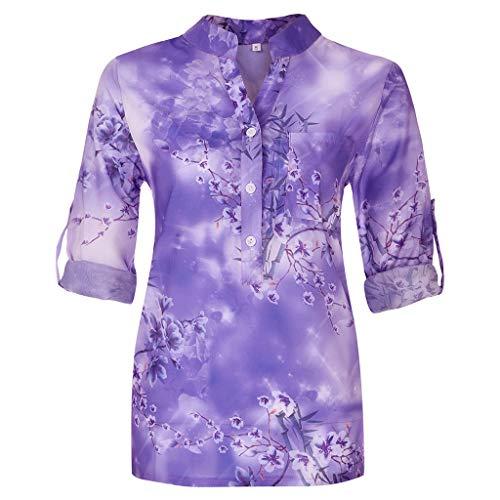 [해외]꽃 인쇄 블라우스 여성 패션 2019Limsea 여성 블라우스 여름 짧은 긴 소매 빈티지 탑 T 셔츠 / Floral Print Blouses for Women Fashion 2019Limsea Womens Blouse Summer Short Long Sleeve Vintage Tops T-Shirts