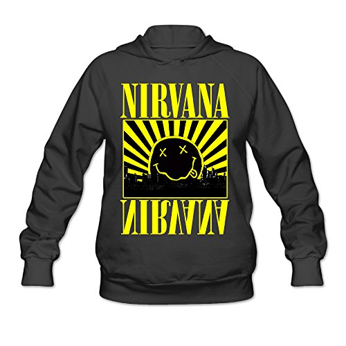 CYANY Nirvana Smiley Rock Band Logo Sunrise Women's Latest Hoodies Sweater SBlack -