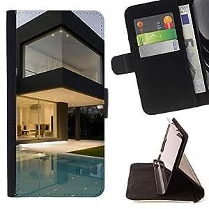 Momo Phone Case / Flip Funda de Cuero Case Cover - Arquitectura Moderna Pool House - Samsung Galaxy Note 3 III