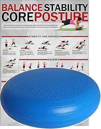 POWRX Plataforma de Equilibrio sin PVC para Fitness, Yoga y Pilates - 36 o 50 cm (50 cm/Azul)