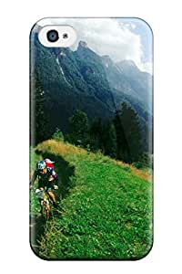 Iphone 4/4s Case Cover Skin : Premium High Quality Bicycle Race Sky Clouds Mountains Green Grass People Sports Case