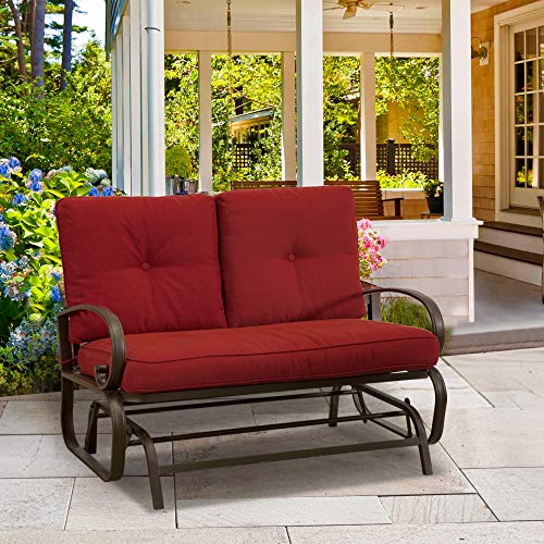 FurniTure Outdoor Rocking Bench Patio Glider Loveseat Cushioned 2 Seats Steel Frame Two Rocking Love Seats Glider Swing Bench, Brick Red