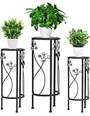 Indoor Decoration Metal Plant Stand 3 in 1 Black Flower Pot Stand Indoor and Outdoor Living Room Terrace Potted Plant Display Stand (Round) Plant Stand (Size : Round)