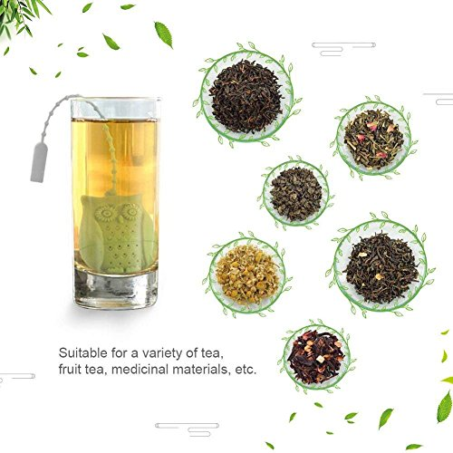 BPA-Free Silicone Animal Funny Tea Infuser for Loose Leaf Tea Strainer,Set of 5 Tea Strainers Handle Stainless Packed in Box for Travel Mug Bottle by Free Walker (Image #2)