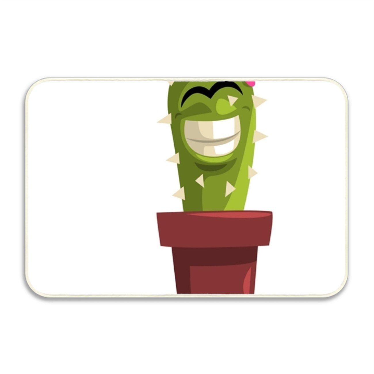 WYFG Environmentally Friendly Welcome Mat Printed Happy Smiling Cactus For School