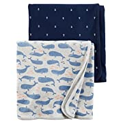 Carter's Baby Boys 2-Pack Babysoft Swaddle Blankets (Whale)