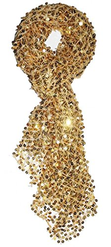 - Alivila.Y Fashion Womens Glitter Shinning Sequins Beaded Wedding Evening Scarf Shawls A05-Gold