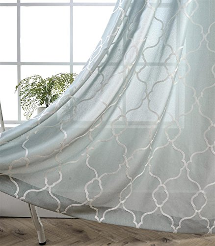 Miuco Moroccan Embroidered Semi Sheer Curtains Linen Look Grommet Window Curtains for Bedroom 52 x 95 Inch 2 Panels, Sea Foam - Sea Green Color Net