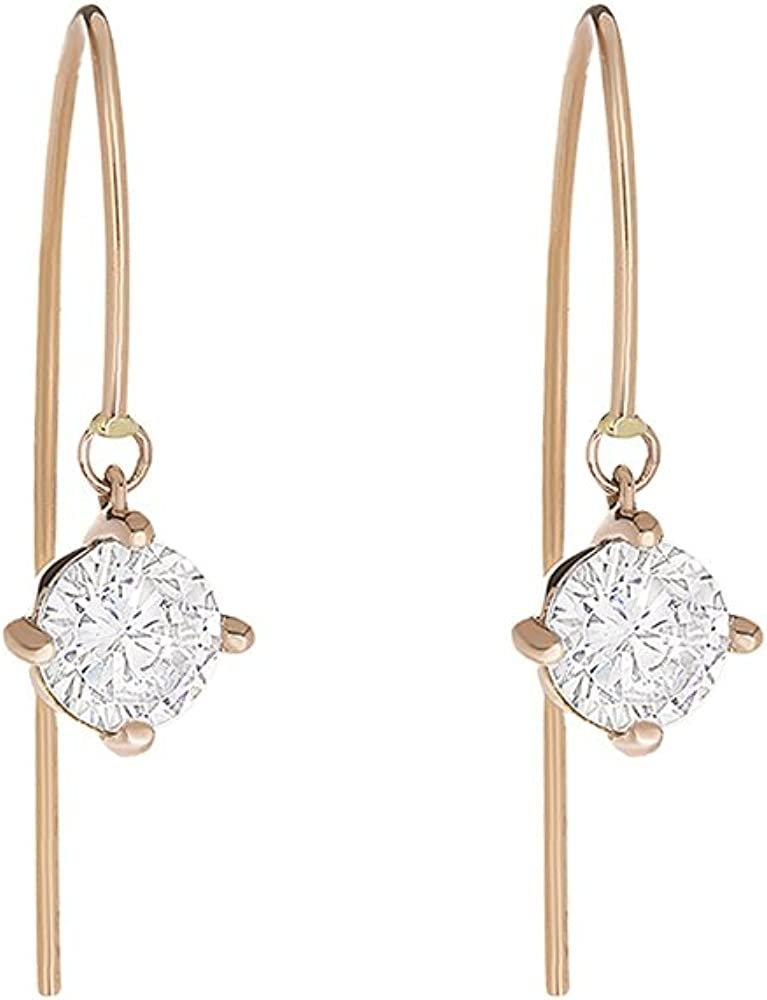 Women 14K White Gold Hand Made 5mm Round CZ Wire Threader Drop Earrings
