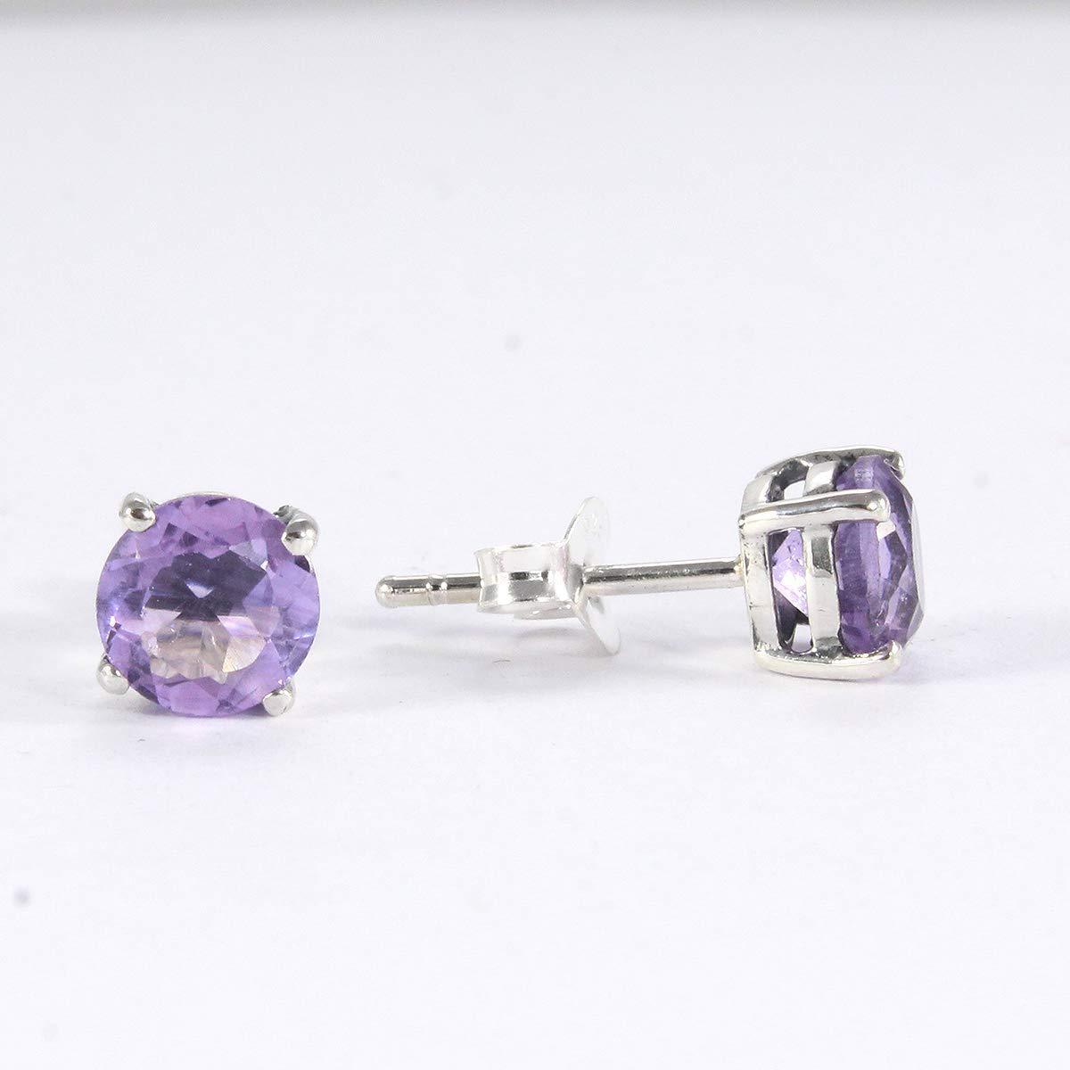 Purple Earrings Amethyst Earrings Amethyst Silver Earrings Round Stone Earrings Gemstone Earrings Silver Earrings Handmade Earrings