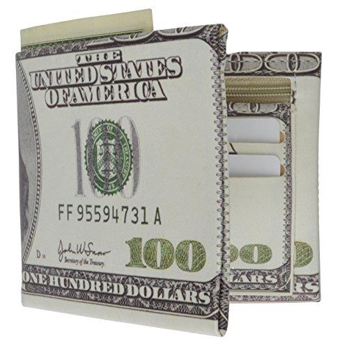 Men's Billfold Wallet Plastic / Tyvek Bifold WalletBy Marshal (100 Dollar Bill)