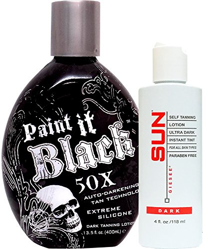 Millennium Tanning Paint It Black 50X,13.5 Oz + Dark Self Tanner 4 Oz by millennium Tanning Products