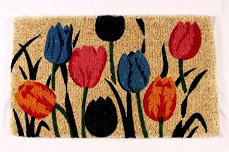 Merveilleux Kempf Multi Tulip Natural Coco Doormat, 18 By 30 By 1 Inch