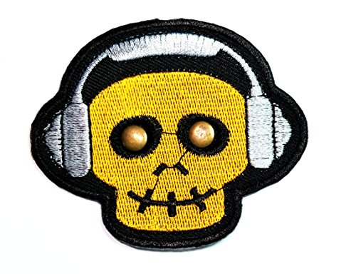 HHO Yellow skull Ghost listen to music Patch DIY Applique Embroidered Sew Iron on Patch Skull logo Halloween Iron On Patch Sew Iron on Kids Craft Patch for Bags Jackets Jeans Clothes -