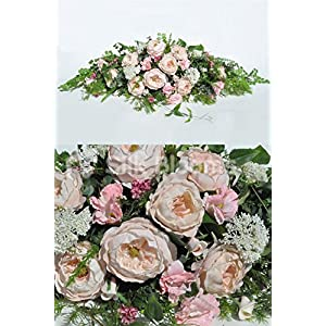 Vintage Artificial Silk Pink Peony and Wildflower Top Table Arrangement with Allium 78