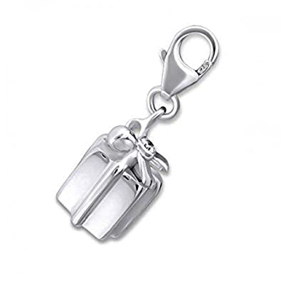 GIFT BOX/PRESENT BOX CZ Set Sterling Silver Clip-On Charm - For Thomas Sabo Style Charm Bracelets. JB3069 jighp