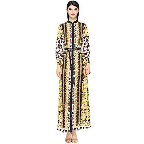 Collared Leopard Print Long s Women Sleeve Printed Dress cotyledon Dresses FwExXqtEA
